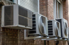Air conditioner units in a wall Royalty Free Stock Image