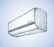 Air conditioner. Vector sketch Stock Photography