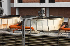 Air conditioner water system on roof. Of high building Stock Images