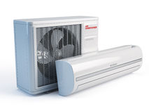 Air conditioner. On white background - 3d render Royalty Free Stock Photos