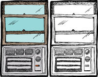 Air Conditioner Window Unit. Small air conditioner inside a wooden window royalty free illustration