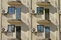 Air conditioners on the balconies. Royalty Free Stock Photos