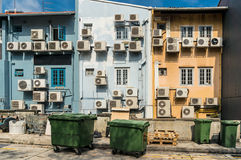 Air conditioners condenser units at building wall Stock Photography