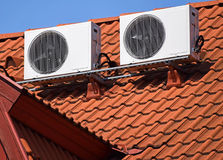 Air conditioners on the roof Stock Photos