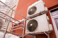 Air conditioners in the wall of a house Royalty Free Stock Images