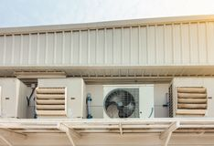 Air Conditioning Compressor Installation Outside Building, Air Cooling System for Supermarket Shop.  stock images