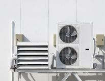 Air conditioning condensor and pipe line Royalty Free Stock Image