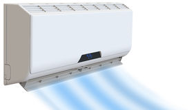 Air conditioning, cooling breeze blows cold. 3D render, on white background. Royalty Free Stock Photo