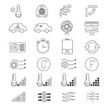 Air conditioning, cooling vector thin line icons. System of climate control illustration Stock Photo
