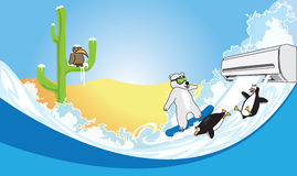 Air conditioning in the desert. Polar bear and penguins skate on snow Royalty Free Stock Photos
