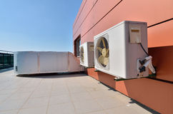 Air conditioning devices with big fans Royalty Free Stock Photography