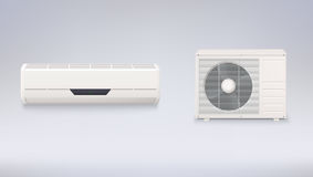 Air conditioning, electronic appliance to clean, freshen and circulate air white color indoor and outdoor units. 3D icons on a white background Stock Photography
