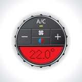 Air conditioning gauge with red display stock illustration