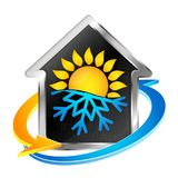 Air conditioning and heating symbol. Air conditioning and heating house symbol for business Stock Photography