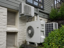 Air conditioning and heating unit for a residential house Stock Photos