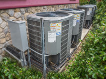 Air conditioning and heating unit for a residential house Stock Image