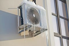 air conditioning and icicles Royalty Free Stock Photography