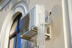 Air conditioning and icicles Royalty Free Stock Images