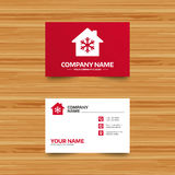 Air conditioning indoors icon. Snowflake sign. Business card template. Air conditioning indoors icon. Snowflake sign. Phone, globe and pointer icons. Visiting Royalty Free Stock Images