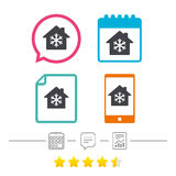 Air conditioning indoors icon. Snowflake sign. Calendar, chat speech bubble and report linear icons. Star vote ranking. Vector Royalty Free Stock Photos