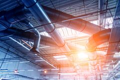 Free Air Conditioning Of Buildings. Background Of Ventilation Pipes. Royalty Free Stock Images - 183375279