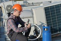Air Conditioning Repair Stock Photo