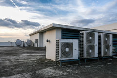 Air conditioning on a rooftop. Building air conditioning systems on a rooftop Royalty Free Stock Photo