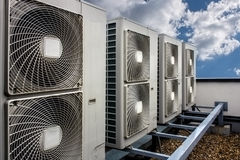 Air conditioning system. Assembled on side of a building Royalty Free Stock Photography