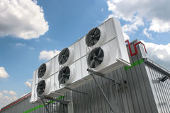 Air conditioning system. Assembled on side of a building Stock Photos