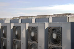 Air conditioning system. Assembled on side of a building Stock Photography