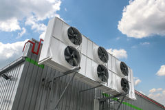 Air conditioning system. Assembled on side of a building Royalty Free Stock Photo