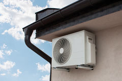 Air conditioning system. Assembled on side of a building Royalty Free Stock Image
