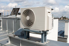 Air conditioning system. Assembled on top of a building Stock Image