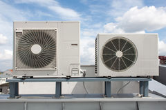 Air conditioning system. Assembled on top of a building Stock Photos