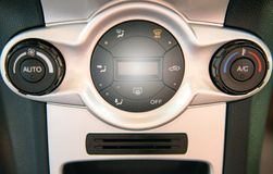 Air conditioning system,Button on dashboard. In car panel Royalty Free Stock Image