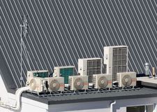 Air-conditioning system. On a commercial building Stock Image