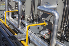 System of ventilating pipes. Air conditioning system of an industrial building Stock Photos