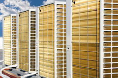 Air conditioning system. Rear side of Air conditioning system assembled on top of a building Stock Photography