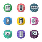 Air conditioning system round flat icons Stock Photo
