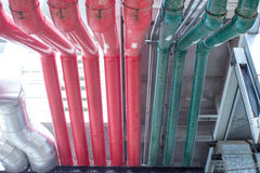 Air conditioning tubes in conference hall Royalty Free Stock Image