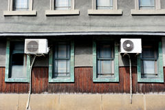 Air conditioning unit outside the house, Kyoto area, Japan Royalty Free Stock Photography