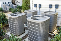 Air Conditioning Units At Apartment Complex Stock Photography