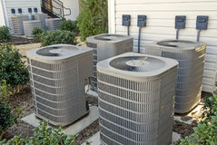 Air-conditioning Units for Multi-Family Apartment Building Horizontal Stock Images