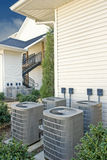 Air Conditioning Units for Multi-Family Apartment Building Vertical Stock Photo