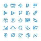Air conditioning vector line icons. Temperature, humidity, drying, cooling and heating pictograms. Climate conditioner system equipment illustration Stock Images