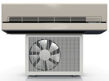 Air conditionner. The grey air conditioning unit Stock Photography