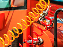 Air connections hoses of machinery Stock Photos
