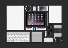 Air consistant 2, iphone 5s, clavier d'ipad de maquette de produits d'Apple Photographie stock libre de droits