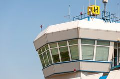 Air control tower in the airport morning light. Royalty Free Stock Photos