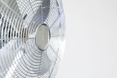Air cooler chrome Metal fan on a white background Stock Photo